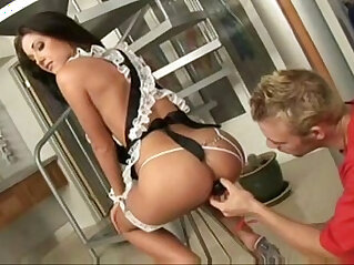 Hot Brunette French Maid