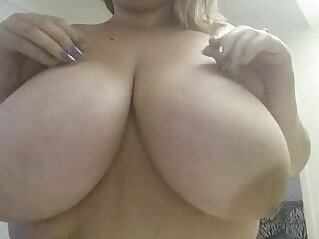 Playing with big melon Boobs