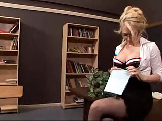 Sexy blonde teacher fucked