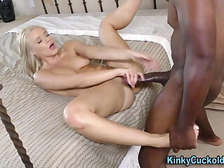 Babe sucks and rides big black dick