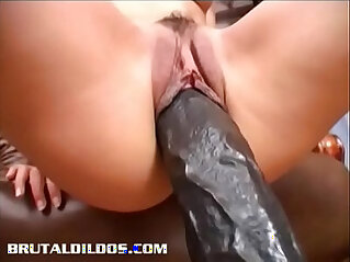 Slim brunette Demia gapes her pussy with brutal dildo