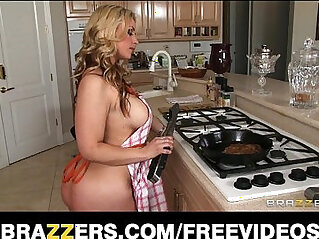 Busty amateur blonde wife helps her man celebrate steak and a blowjob day