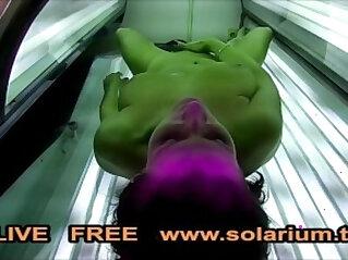 Hot Horny Girl masturbates in Public Solarium Spy Hidden Voyeur Cam