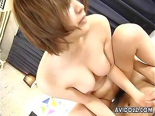 Hairy Reimi Fujikura riding cock like mad
