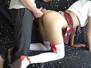Step brother fucks sister who did not go to school but play on camera with magic wand