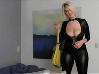 bbw blonde joi in latex catsuit