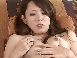 Asian MILF masturbates then sucks