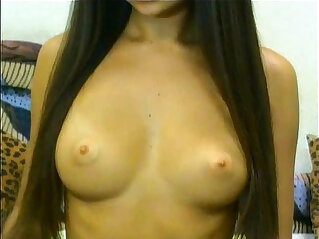 Naughty webcam girl playing around with her titties totally nude