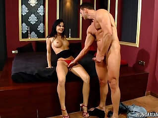 Euro babe riding cock pounded by hard and fast