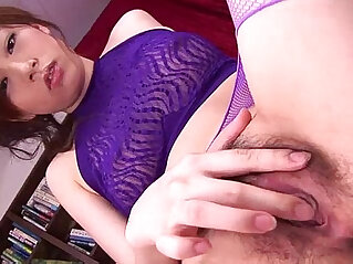 Keito looks sexy in her purple lingerie sucking on a hard black dick