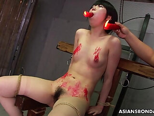 Asian loves to be bdsm treated to a wax show