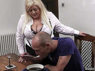 Boss fucks busty blonde secretary in stockings