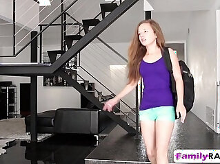 Cowgirl step daughter Marissa Mae fucks big dick