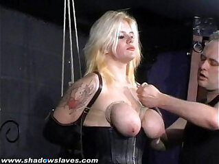 Busty blonde Cherrys breast bondage and amateur bdsm of tit tortured submissive