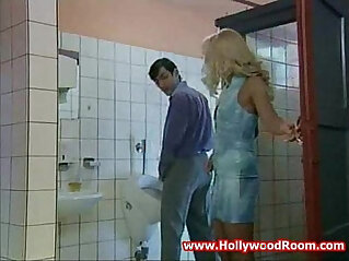 Horny mature Wife sucks and Fucks Stranger In Public Toilet