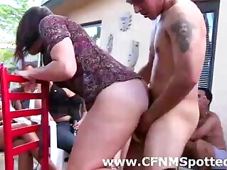 Classy lady fucked for amateur group