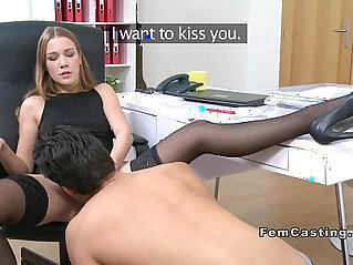 Female agent spreads her legs and gets cunt licked