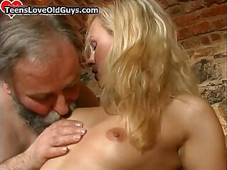 Bearded old man gets to fuck this hot blonde