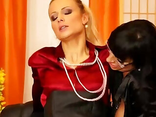 Clothed classy glamour ffm threesome anal fuck