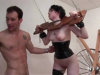 Pretty brunette fucked very hard in bdsm game